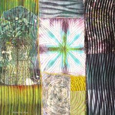 """""""VENUS"""", textile Collage von Annette Aue, Monoprint, Shibori"""