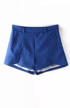 New fashion women Elegant basic chiffon petal shorts zipper pockets office lady casual Slim brand designer shorts Basic Shorts, Ripped Shorts, Pleated Shorts, Casual Shorts, Blue Shorts, Fashion Pants, New Fashion, Fashion Outfits, Womens Fashion
