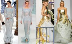 Gossip Girl wedding dresses: blue Elie Saab and white/gold Georges Chakra Couture