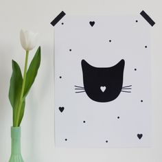Cat hearts poster