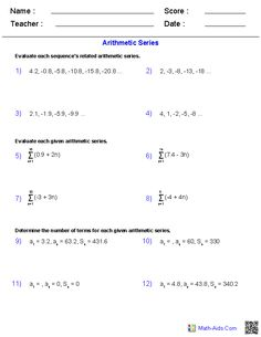 Worksheets Arithmetic Sequences And Series Worksheet sequences and series worksheets algebra 2 math aids arithmetic worksheets
