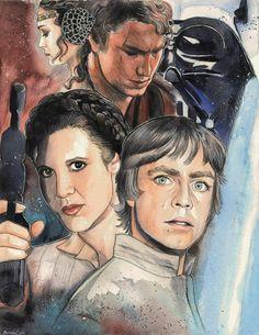 My own Skywalker family fan art :3 Watercolors, pencils and ink, A3-size