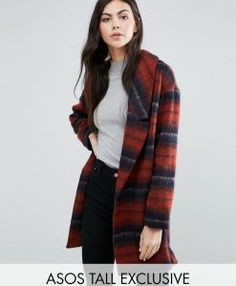 ASOS TALL Co-ord Brushed Check Jacket - Check. Tall Clothing at PrettyLong.com Tall Clothing, Jackets For Women, Clothes For Women, Asos, Turtle Neck, Pretty, Sweaters, Coats, Check