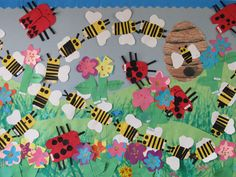 Spring Bulletin Board with Insects- See Heidi's Blog for Free Downloadable Patterns