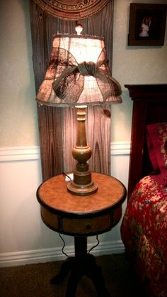 Lampshade that we covered with burlap...