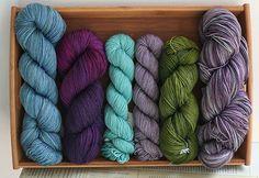 Mmm. Sock yarn. From left: indigodragonfly Merino Silk 4-ply Sock, Sweet Georgia Tough Love Sock, Koigu KPM x 2, Malabrigo Sock, and indigodragonfly MCN Sock.
