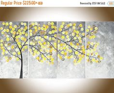 "Abstract painting yellow grey white abstract painting large wall art impasto canvas art original artwork ""Weeping Willow"" by QiQigallery"