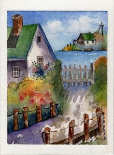 Cottage by the bay WATERCOLOR