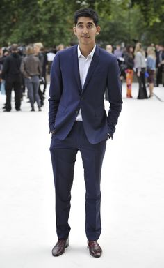 Dev Patel wearing Burberry at the Burberry Prorsum Womenswear Spring/Summer 2013 Show