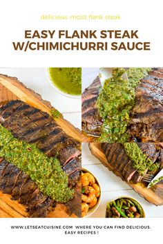 The best grilled Easy Flank Steak Recipe ever for delicious juicy flank steak or skirt steak with chimichurri. Perfect easy recipe for indoor pan grilled. Good Steak Recipes, Flank Steak Recipes, Easy Dinner Recipes, Dessert Recipes, Steak Dinner Sides, Chinese Spices, Summer Grilling Recipes, Infused Water Recipes, Best Steak