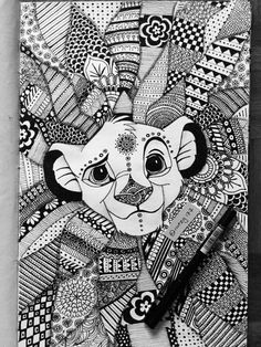 color therapy coloring pages lion king | Zentangle Simba | Products, Art and Art prints