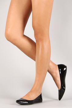 Qupid Patent Pointy Toe Ballet Flat - Elektra Z. Pointy Flats, Loafer Flats, Black Flats, Ballerina Shoes, Ballet Flats, Shiny Shoes, Flat Shoes, Wedding Flats, Stockings Legs