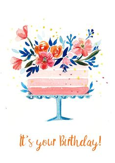 card aquarell Watercolor Cakes: Create an Easy Birthday Card Watercolor Birthday Cards, Birthday Card Drawing, Birthday Card Design, Watercolor Cards, Happy Birthday Painting, Simple Birthday Cards, Bday Cards, Happy Birthday Cards, Birthday Cakes