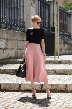 Asos Pink Stitch Waist Detail Midi A-skirt