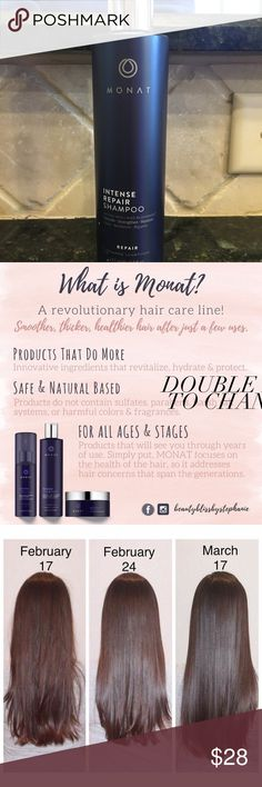 Monat Intense Repair Treatment Shampoo Monat Intense Repair Shampoo New Full Size 8 fl oz (From The Let It Grow Line)  This is a brand new full bottle, never used, however the seal has been broken. My daughter opened it to smell it, not realizing I had a bottle already opened.  A salt and sulfate-free gentle hydrating cleanser that penetrates and nurtures the scalp, while helping boost natural hair growth and improve follicle strength to reduce hair thinning. Adds essential moisture into…