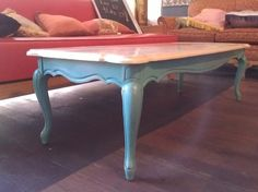 Turquoise coffee table with marble top! Vintage and funky! www.facebook.com/studio11boutique