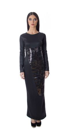 LIDIJA fall/winter 2015 Long black dress with sequins draped on one side for more info www.lidija.ca
