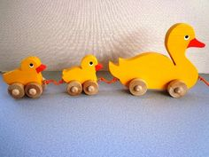 Wooden Toy Mama Duck And Babies Pull Toy - Hand Painted - Wiggle As They Roll…