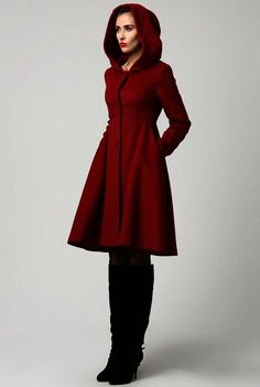 22548fdc5ab Items similar to Coat-Red Hood-Woman Coat-Red Coat-Wool Coat-Winter Coat  Woman-Winter Coat-Woman Winter Coat Jacket-Winter-Red 1117 on Etsy
