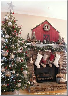 """CREATIVE AMBITIONS: Christmas Mantel 2012 with a New """"Woodsy"""" Creation! #ChristmasHomeDecorating,"""