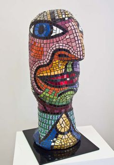 Mosaic © Deborah Halpern - Girl With Silver Hair Mosaic Diy, Mosaic Garden, Mosaic Crafts, Mosaic Projects, Mosaic Tiles, Stone Mosaic, Mosaic Glass, Mosaic Furniture, Mosaic Portrait