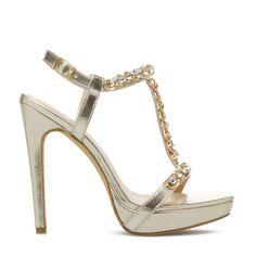 Gold dressy sandals, Bela - ShoeDazzle