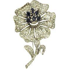 Vtg Philippe TRIFARI Pave Rhinestone Sapphire FLOWER Figural Brooch Pin FUR CLIP