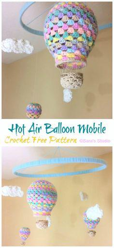 🎈 for Felix: Hot Air Balloon Baby Mobile Crochet Free Patterns Crochet Baby Mobiles, Crochet Mobile, Crochet Baby Toys, Crochet Gifts, Crochet For Kids, Crochet Yarn, Free Crochet, Crochet Baby Stuff, Air Balloon