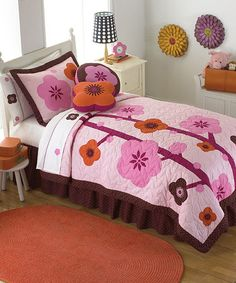 Look what I found on #zulily! Chocolate & Pink Blossom Quilt Set #zulilyfinds