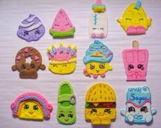 12 SHOPKINS Edible Fondant Cupcake by SugarKissCakeToppers