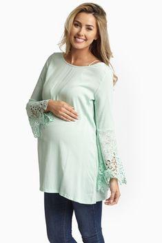 Mint-Green-Linen-Crochet-Trim-Sleeves-Bohemian-Maternity-Tunic