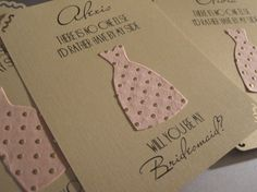 Will You Be My Bridesmaid... Cards Set of 4 by theinspirednote, $15.00