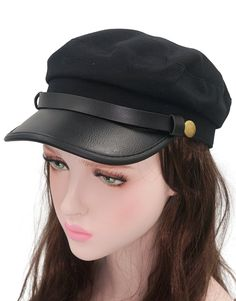 ac7496ad Unisex Adult Chauffeur Costume Driver Cap Cosplay Officer Fiddler Hat -  Black - CZ182WD0DNE