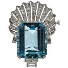 Beautiful Platinum Aquamarine and Diamond Shell Pendant Brooch  Aqua-33.14 Carats Diamonds 2.00 Carats. Circa 1930s