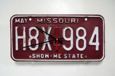 License Plate Clock....no tutorial....just get a clock kit from hobby store, drill hole in license...that's it!!!  Oh...then put it together according to instructions on clock kit!  :)