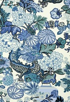 Schumacher Wallpaper Chiang Mai Dragon in China Blue