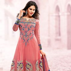 #Peach Net #Anarkali Churidar Kameez