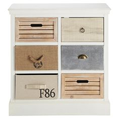 Wooden chest of drawers in white W Ouessant 9 Drawer Dresser, Chest Of Drawers, Hallway Unit, Off White Cabinets, Off White Walls, Wooden Chest, So Creative, Affordable Furniture, Painted Furniture