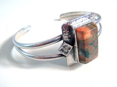 Rainforest Jasper and Sterling Silver Cuff Bracelet  by  AstrasShadow