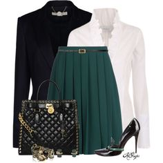 A fashion look from November 2014 featuring black wool jacket, dark green skirt and kohl shoes. Browse and shop related looks. Office Fashion, Work Fashion, Trendy Fashion, Vintage Fashion, Fashion Outfits, Womens Fashion, Classy Outfits, Cool Outfits, Professional Outfits