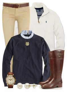 """Preppy Layers"" by qtpiekelso ❤ liked on Polyvore featuring Polo Ralph Lauren, Current/Elliott, J.Crew, Tory Burch, Warehouse, INC International Concepts, Lord & Taylor, women's clothing, women and female"