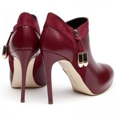 Talisman Red Leather Ankle Boot