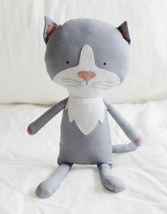 Cat Sewing Pattern Kitten Softie Plush Toy Cloth Doll by ElfPop, $10.00