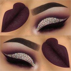 purple glitter cutcrease makeup with liquid lipstick eyeliner. - throp -Dark purple glitter cutcrease makeup with liquid lipstick eyeliner. Glitter Eye Makeup, Prom Makeup, Eyeshadow Makeup, Lip Makeup, Wedding Makeup, Makeup Tips, Eyeshadows, Makeup Ideas, Eyeshadow Palette