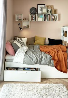 Ikea Bedroom Love The Idea Of Shelves Behind Headborad And Underbed Drawers Especially If The