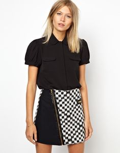 ASOS Blouse with Quilted Peter Pan Collar and Placket