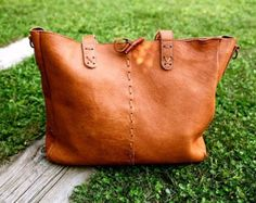 Ethnic LEATHER BAG // Handcrafted leather handbag // Big tote bag with cross-body strap // Deer Leather bags NATURE