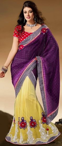 #Purple and #Yellow Viscose and Net #Lehenga Style #Saree with Blouse @ $136.10