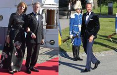Left photo: Prince Leopold of Bavaria wife Ursula. Right photo: Crown Prince Haakon of Norway. All were guests at the pre-wedding dinner of Prince Carl Philip of Sweden, 12 June 2015.