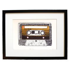 This beautiful hand drawn illustration of a cassette tape would make the perfect gift for any music lover.  This is a limited edition of a 100 prints which has been signed, titled and numbered by the artist, Charlotte Farmer.  The print has been screen printed onto high quality paper stock by hand.  Please not the frame is not included, however this print will fit into a standard sized frame. Your original art print will arrive protected in a cellophane wallet with cardboard backing…